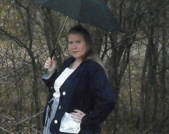 Prairie Girl Midnight Blue Blazer, retro jacket, button front, linned, vintage doilie pocket blazer,