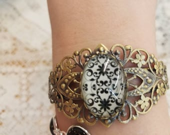 Black and white flower filigree leaf silhouette bangle bracelet #8