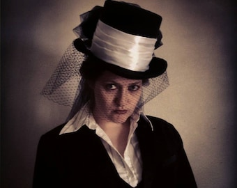 Victorian riding top hat in black Kentucky Derby hat, Edwardian, black bustled hat.
