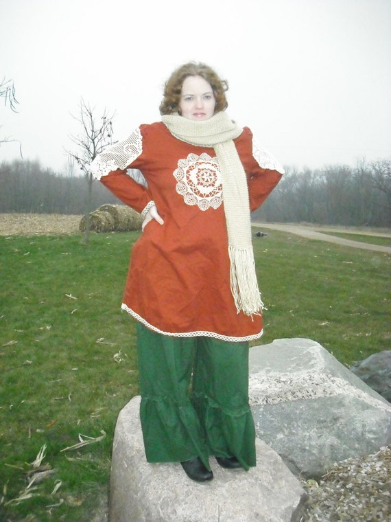 Copper long sleeve top with antique lace accents the Copper and Twigs line from Tina-rie Studio