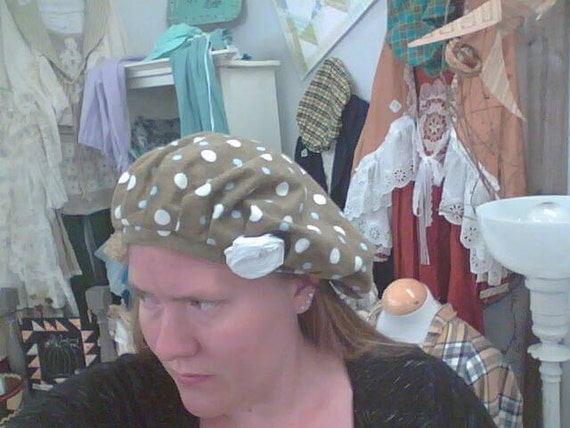 flannel polkadot on brown frumpy hat with rose