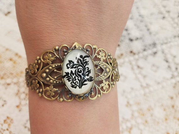 Black vine filigree bangle bracelet #9