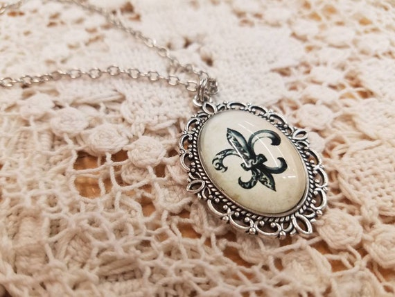 Fleur de lis filigree necklace on chain #5