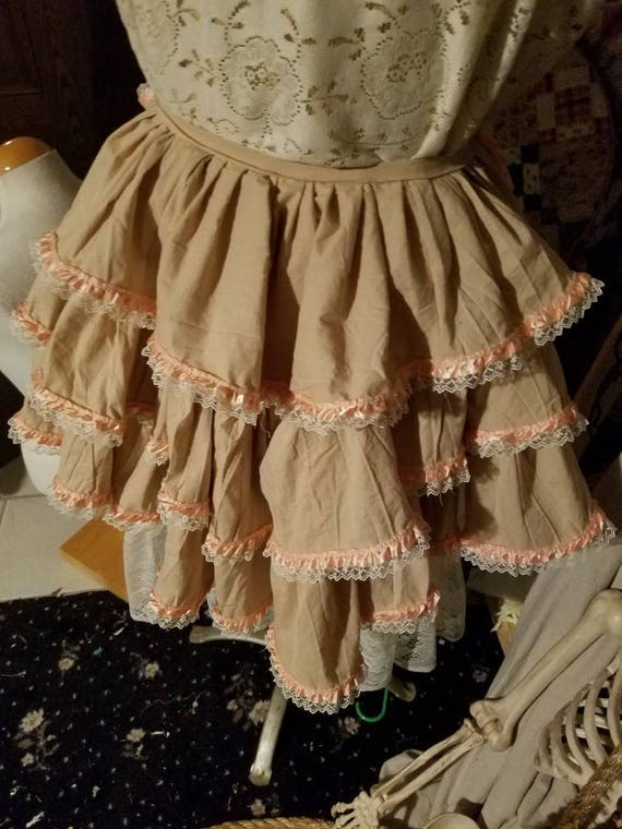 Three tiered cream and pink lace edged bustle, Victorian cape, edwardian style shabby cloak