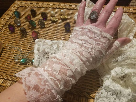 Southern Bell's Lace steampunk Wristlets victorian style fingerless gloves Alabaster and Lace
