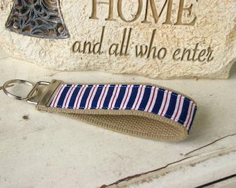 Red & Blue Stripes Key Fob Wristlet Key Chain