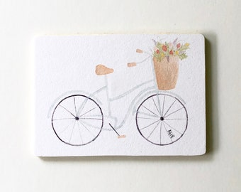 Mint Watercolor Bicycle with Flower Basket Wooden Fridge Magnet
