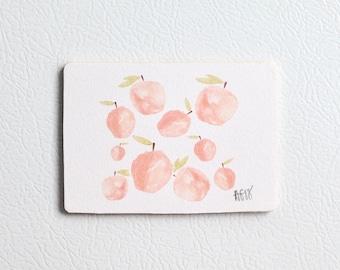 Watercolor Peach Wooden Fridge Magnet