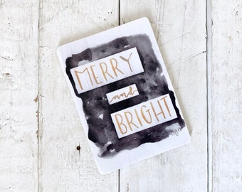 Merry and Bright Watercolor and Calligraphy Wooden Magnet Christmas Gold and Black