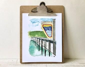 Ventura Pier Watercolor Print