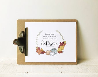 """Anne of Green Gables Watercolor Print and """"Octobers"""" Quote"""
