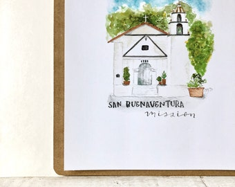 San Buenaventura Mission Watercolor Print