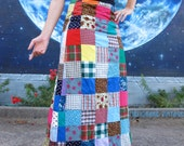 1960s patchwork magical hippie SKIRT maxi festival boho from 1950s fabric vintage size XXS XS S