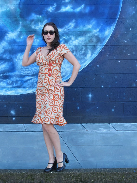 Day S M of DRESS Votexes Kind 1950s One 1960s Vintage Cotton Fractals a Hourglass Fitted Fitted Spirals PinUp Party or H1YBq1w