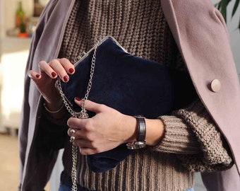 velvet bag for women, Kiss lock bag for wedding, Clutch Bag with Chain, navy blue bag