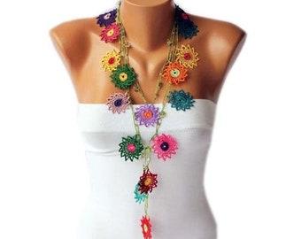 Crochet Bead Work, Lariat Crochet Necklace, Bohemian Gypsy Crochet Flower Necklace, With Beads