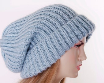 45eccce4 Winter knit hat Mohiar baggy slouchy beanie oversized beanie hat in black  -COLOR OPTION AVAILABLE