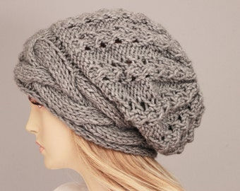 Slouchy beanie oversized beanie hat winter knit hat for woman in Grey  -COLOR OPTION AVAILABLE 45ba007e41b