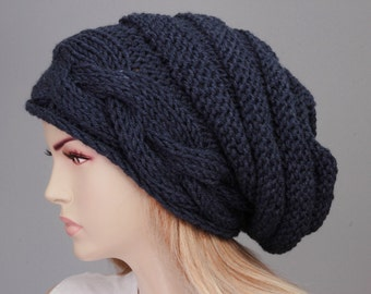 7022f7c2f46 Big Sale -Slouchy beanie oversized beanie hat winter knit hat for woman in  dark blue