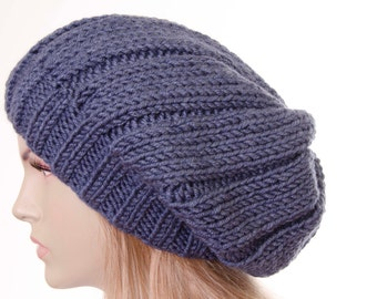 96735595 Winter knit hat ,slouchy beanie oversized beanie hat in denim -COLOR OPTION  AVAILABLE
