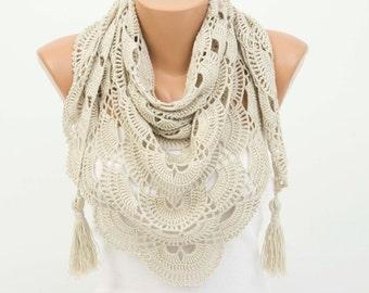 Triangle crochet  scarf shawl  beige