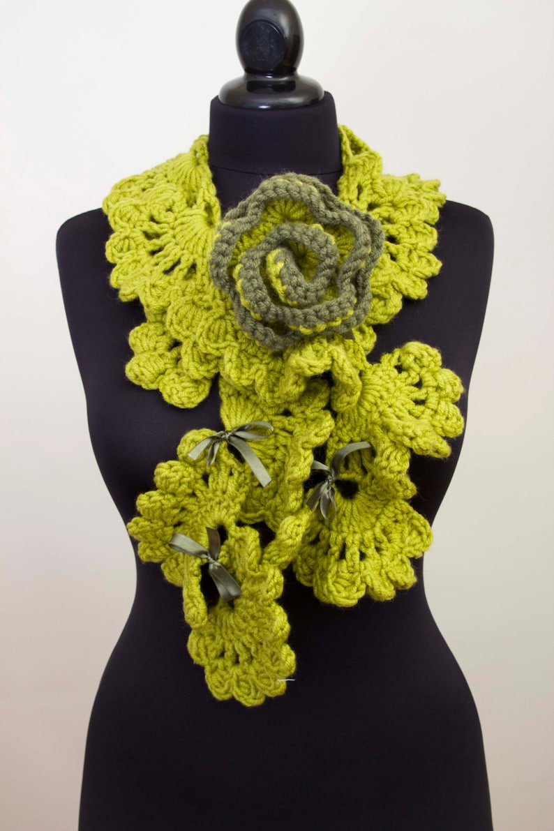 1c186cd8a0d Green crochet ruffle scarf with removable brooch, long crochet scarf