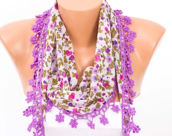 Summer scarf ,rringed lace scarf ,triangle lace scarf , guipure scarf, flowered ,woman scarf