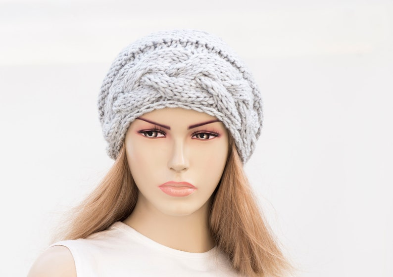 For Woman In Silver Grey Winter Knit Hat COLOR OPTION AVAILABLE Oversize Beanie Hat Slouchy Beanie