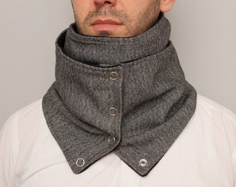 Mens  infinity scarf NECKWARMER infinity scarf  with snaps