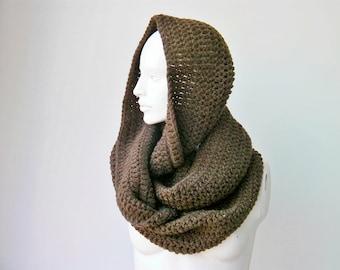 Sale -Chunky crochet scarf,   brown crochet scarf , chunky crochet scarf ,big crochet scarf, infinity chunky , crochet cowl chunky