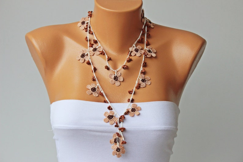 Crochet bead necklace  jewelry  crochet necklace crochet flower necklace