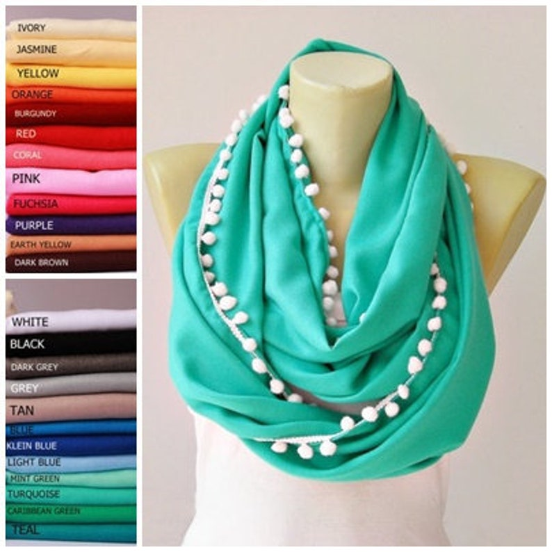 50ac6027950 Pom pom infinity scarf,loop scarf grey with black pompom trim,Team spirit  scarf,graduation scarf Loop scarf pashmina scarf ,CHOOSE COLOR
