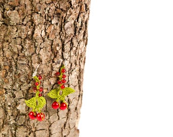 Crochet  earring ,crochet oya cherry earring,red green