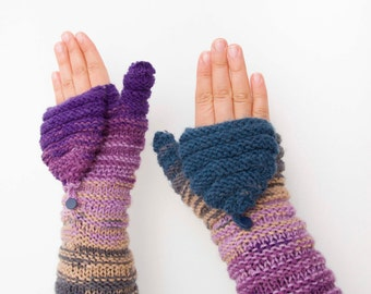 Knitted Convertible Mittens Fingerless gloves purple and teal tones  -  COLOR OPTION AVAILABLE