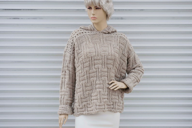 f716e3a96e3 Chunky knit sweater oversized sweater for womenbeige-EXPRESS