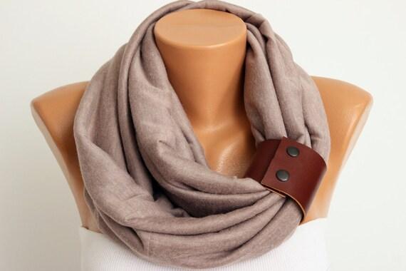 Unisex: unendlich Schal mit echtem Lederarmband Loop Schal | Etsy
