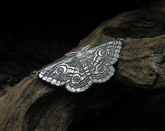 Moth Necklace - Silver Moth Necklace - Emperor Moth Pendant