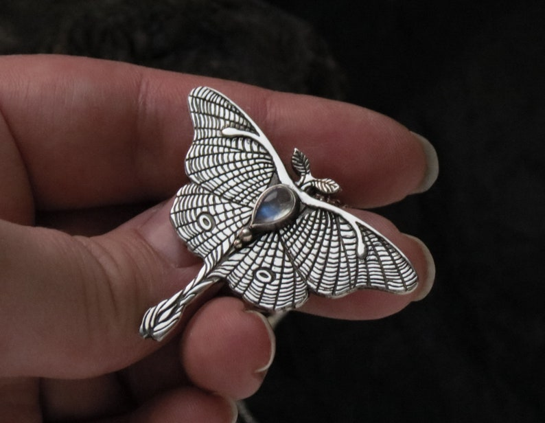 Moonstone Necklace Sterling Silver Butterfly Necklace Luna Moth Necklace