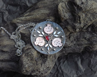 Pomegranate Pendant - Mixed Metal Necklace - Pomegranate Mandala Necklace - Garnet Necklace - Silver Copper Necklace