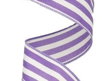 "5 Yards Purple White Chevron Stripe Zig Zag Satin Wired Ribbon 1 1//2/""W"