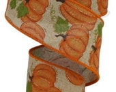 Pumpkin Ribbon, Glitter Ribbon, Fall Ribbon, Burlap Ribbon, 2 1 2 quot Wired Ribbon, 10 Yard Roll