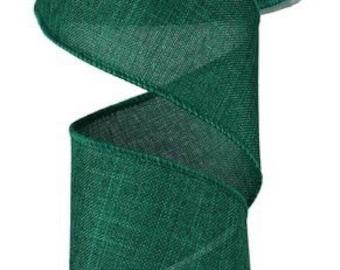 """Green Ribbon, Emerald Green Ribbon, Burlap Ribbon, Wired Ribbon, 2 1/2"""" Wired Ribbon, 10 Yard Roll"""