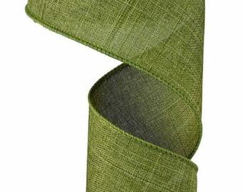 """Green Ribbon, Moss Green Ribbon, Green Royal Burlap Ribbon, Wired Ribbon, 2 1/2"""" Wired Ribbon, 10 Yard Roll"""