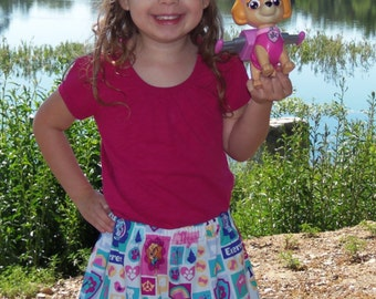 Inspired by Paw Patrol  Skirt   (18 mos,  2T, 3T, 4T, 5, 6, 7, 8, 10)