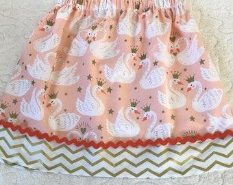 Lovely Peach Swans Skirt (24 mos, 2T, 3T, 4T, 5, 6, 7, 8)