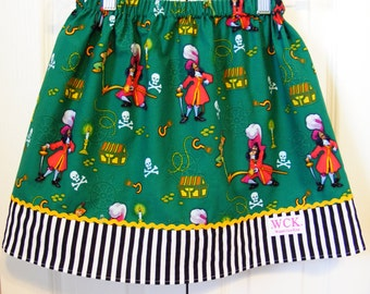 Captain Hook and Peter Pan Skirt ( 18 mos, 24 mos,  2T, 3T, 4T, 5 ,6, 7, 8, 10)