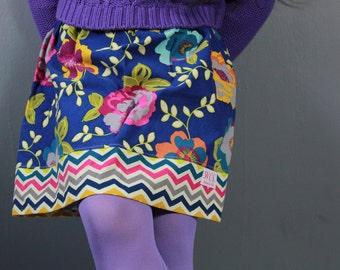 Navy floral Corduroy  Skirt (18 mos, 24 mos, 2T, 3T, 4T, 5, 6, 7, 8, 10)