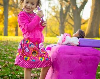 Doc McStuffins pink   Skirt  (18 mos, 2T, 3T, 4T, 5, 6, 7, 8, 10)