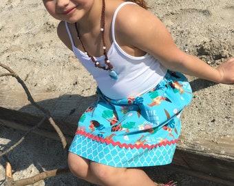 Disney inspired Moana  Skirt  (18 mos, 24 mos,  2T, 3T, 4T, 5 ,6, 7, 8, 10)