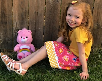 Pink Care Bears  skirt ( 12 mos, 18 mos, 24 mos, 2T, 3T, 4T, 5, 6, 7)